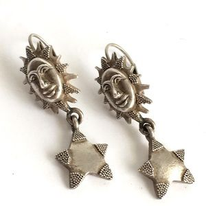Vintage Celestial Earrings Sun Moon Stars Venue